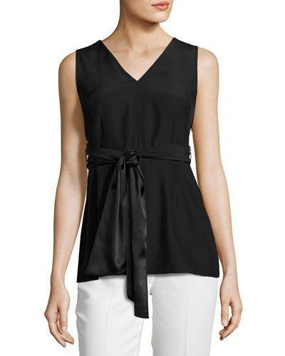 8c76cf74604 Roxanne Sleeveless Tie-Waist Silk Blouse Black | *Last Call* | Wrap ...