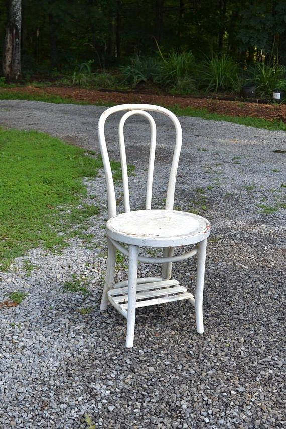 vintage white bentwood bistro chair chippy painted furniture rh pinterest co uk