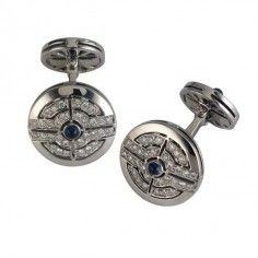 Image for 18ct White Gold Round Diamond and Sapphire Cufflinks