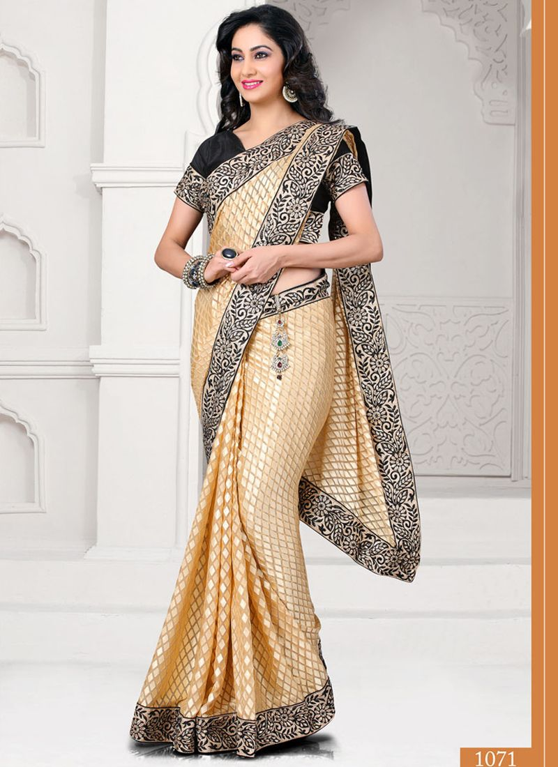 Silk saree lehenga beige classic party wear designer sarees collection