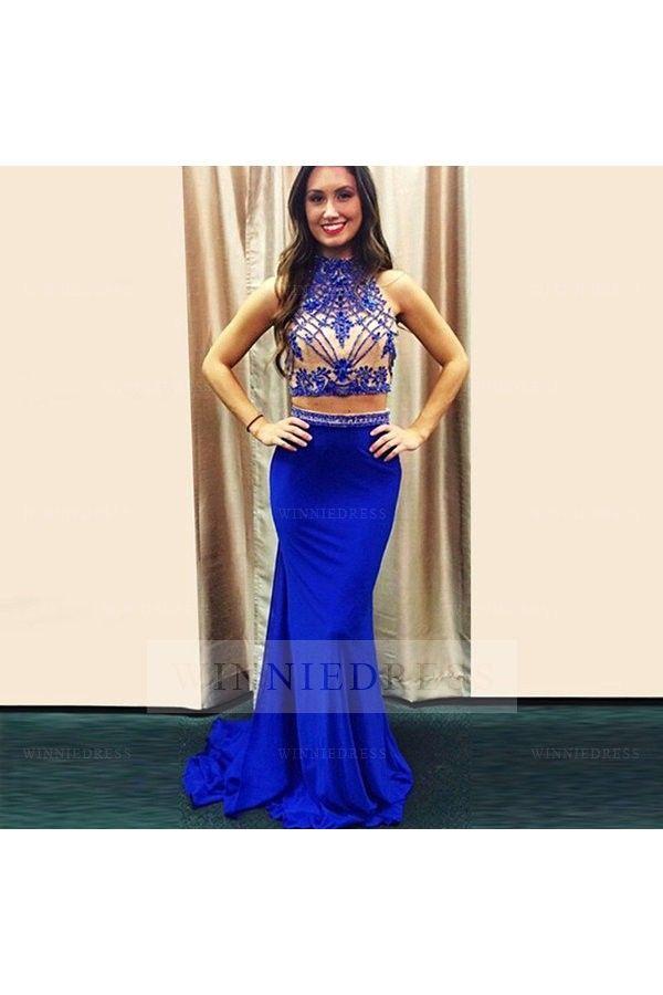 Royal Blue 2 Piece #Mermaid High Neck Beaded Crop Top Satin Skirt ...