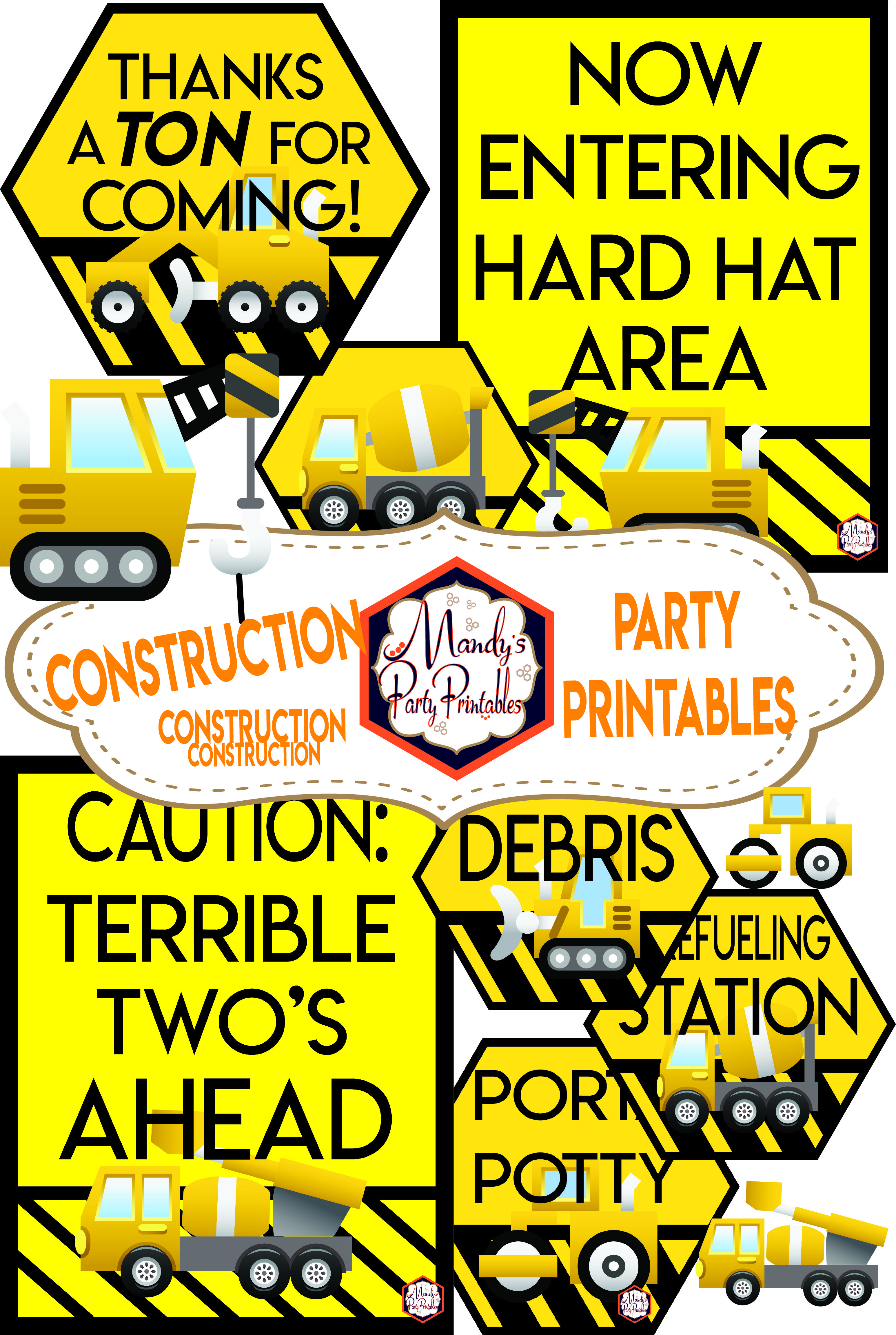 Construction Birthday Party Printables Mandy S Party Printables Construction Birthday Construction Theme Birthday Party Construction Birthday Parties