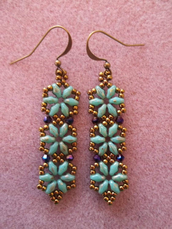 Hexagon Duo Earrings Pdf Bead Weaving Tutorial Instant