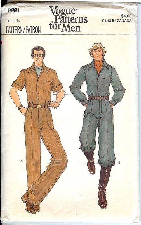 Vintage Sewing Pattern 1970\'s Mens Jumpsuit or Coveralls Vogue 9891 ...