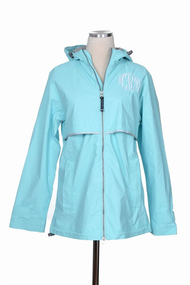 Rainy Days Monogrammed Jacket - Aqua at Bluetique Cheap Chic