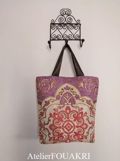 モロッコアラベスク柄トートバッグ・ピンクラベンダー - モロッコ雑貨とモロッコファッション|Atelier FOUKARI