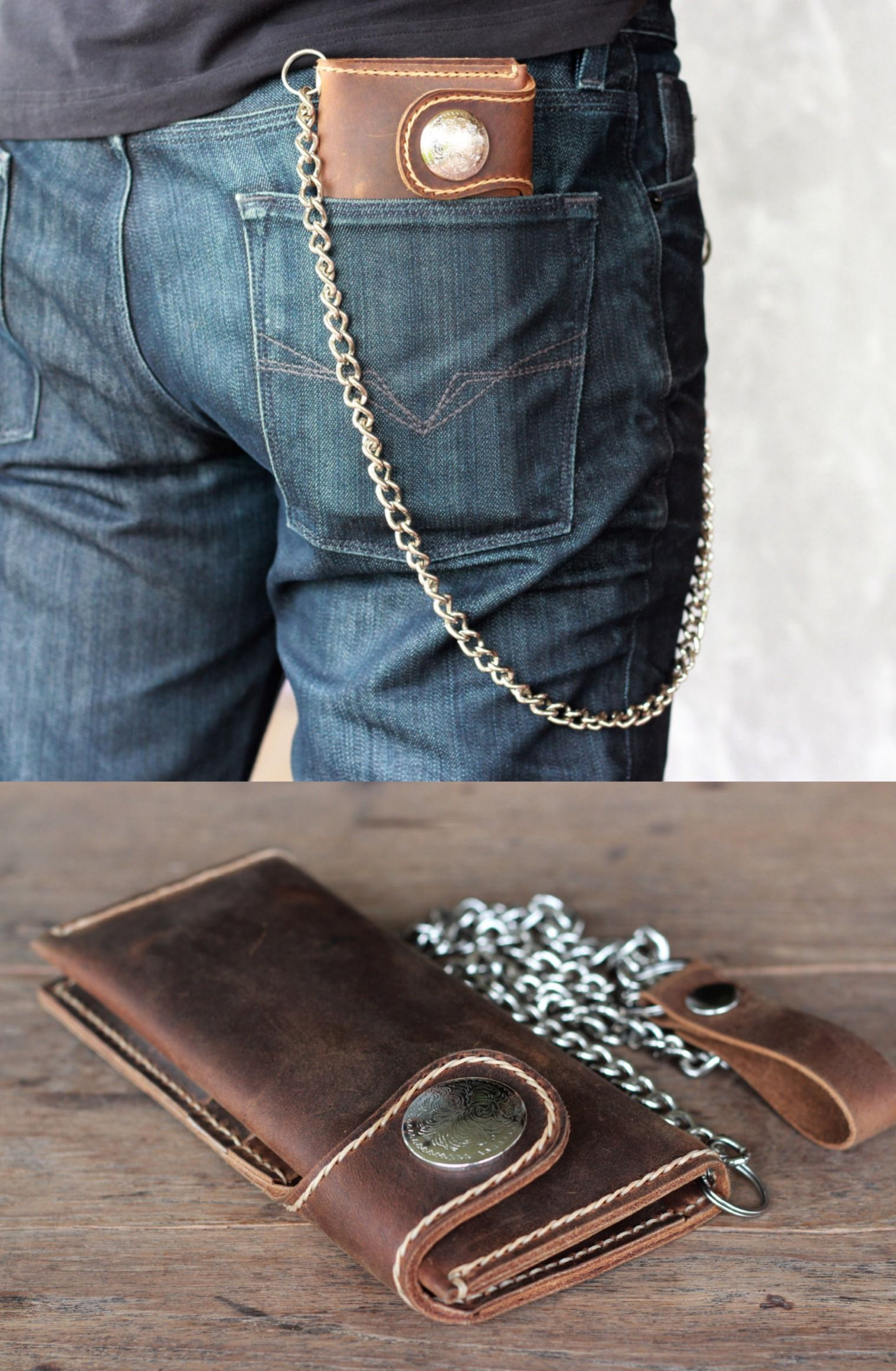 d4e599ed7f19 This chain wallet is off the hook! Hand made Leather Biker Wallet with a  fashion style. The perfect gift to yourself, or for someone for Christmas.