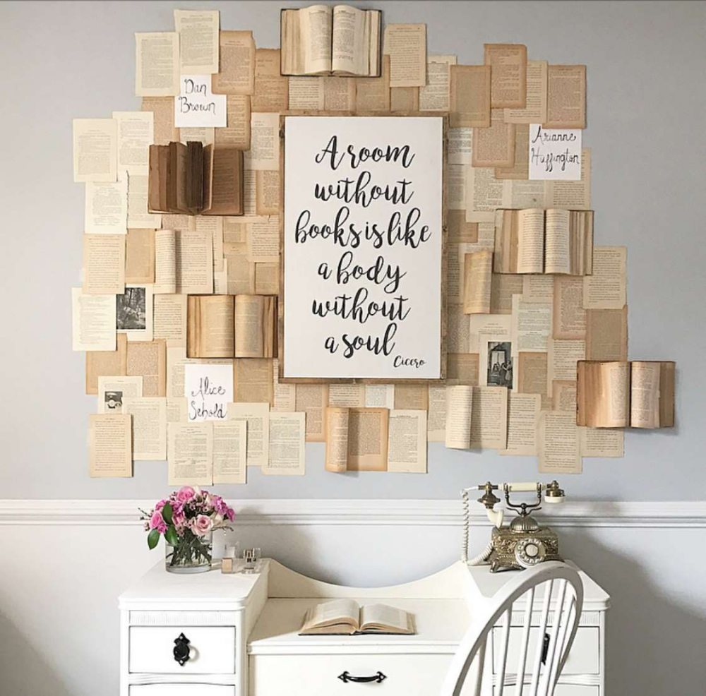 Would you put book pages on your wall? This decor trend has people