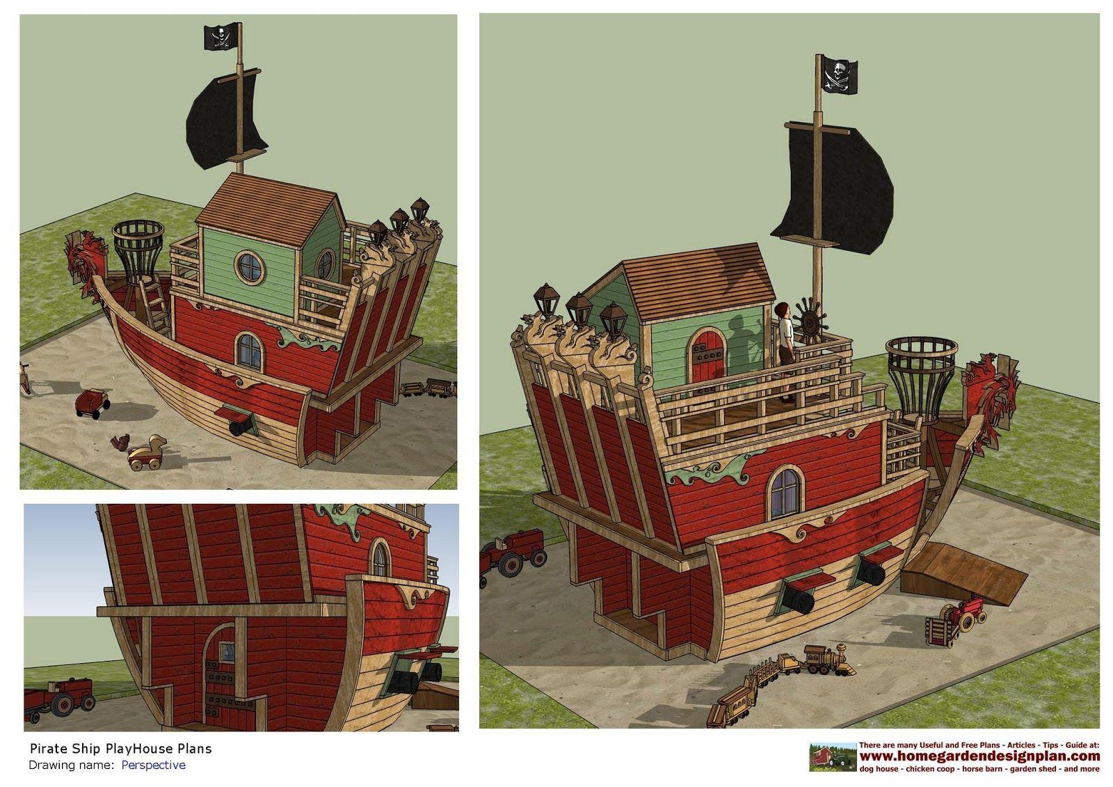 PS100 - Pirates Ship PlayHouse Plans - PlayHouse Design ...