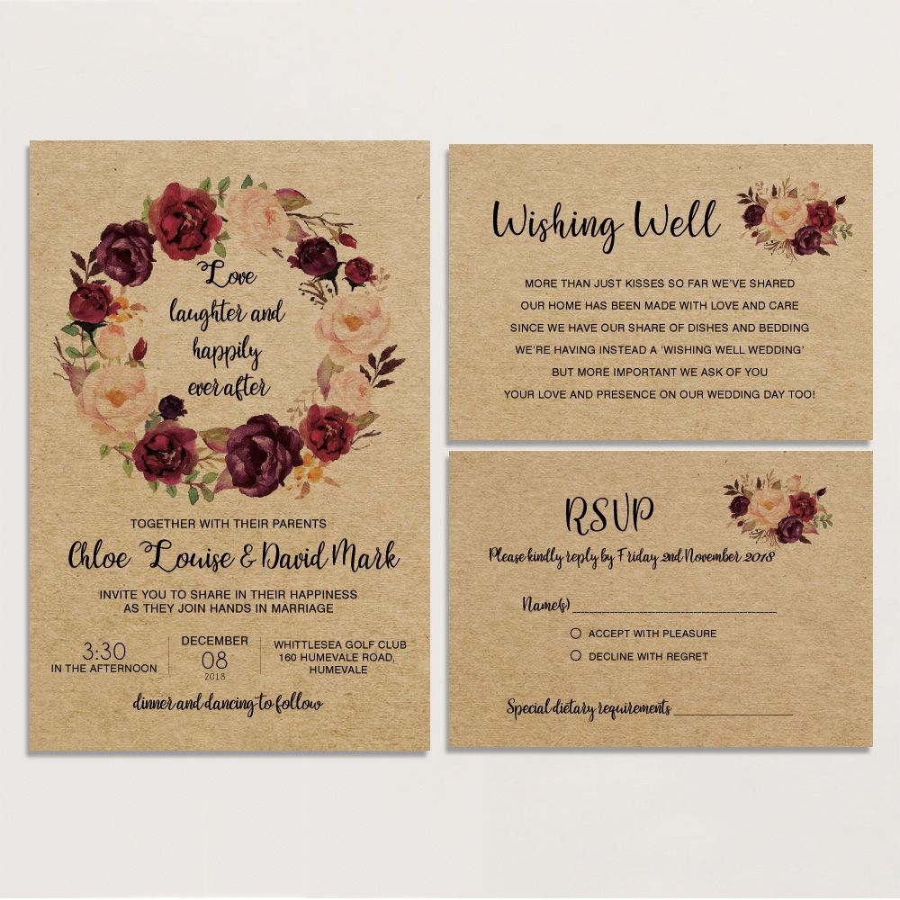 Off White Lace Wedding Invitations Set Rsvp Cards Included Rustic