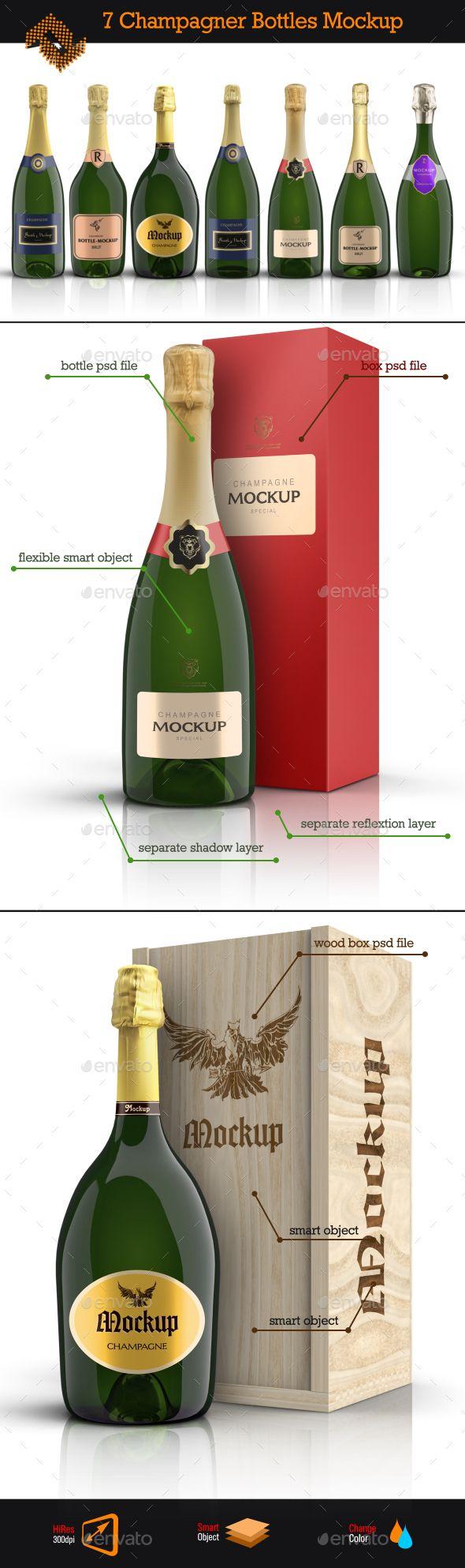 7 Champagner Bottles Boxes Mockup Box Mockup Bottle Box Bottle