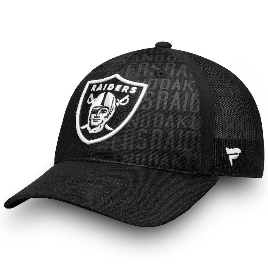 350faa08b27 Men s Oakland Raiders NFL Pro Line by Fanatics Branded Black Trucker  Adjustable Snapback Hat