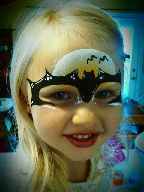 bat girl face paint by love painted too schminken face. Black Bedroom Furniture Sets. Home Design Ideas
