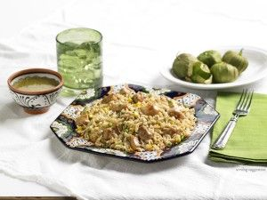 Tomatillo Cilantro Rice with Chicken & Vegetable Confetti