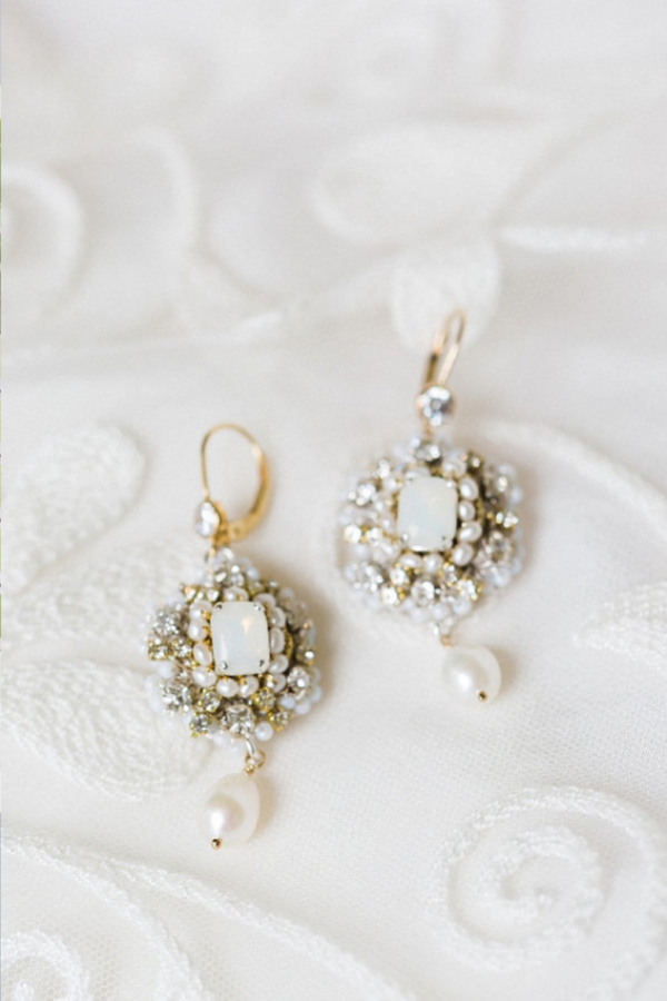 White Opal Bridal Earrings with Swarovski Crystals White opal