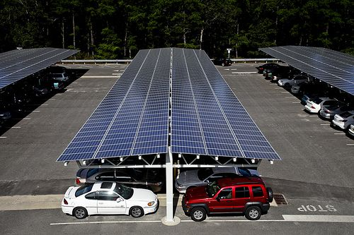Solar Power For Electric Car Carport Yesil Mimari Gunes Paneli Otopark