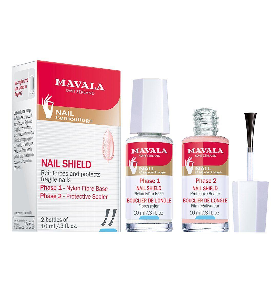 Mavala Nail Shield, 2 Count, Phase 1 & 2, Clear Nail Polish Top Coat, Nail Strengthener, Nail Growth & Nail Hardener Treatment, Nail Care and Repair for Brittle or Split Nails