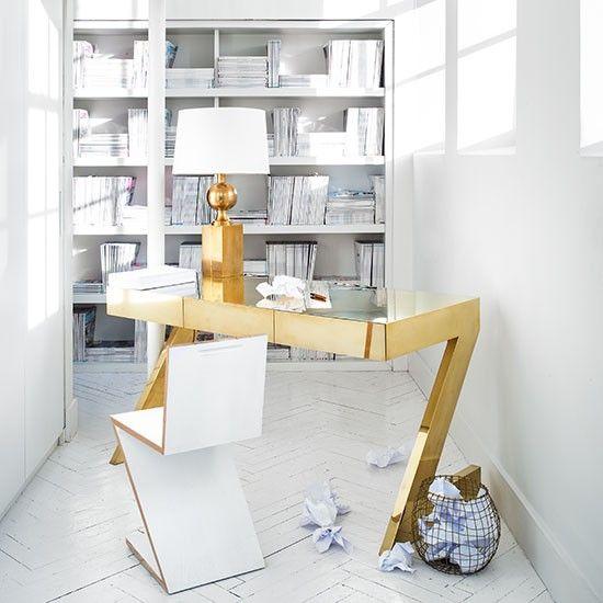 Wohnideen arbeitszimmer home office b ro wei home office gold schreibtisch living ins - Wohnideen arbeitszimmer ...