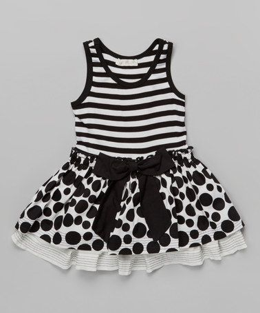 Another great find on #zulily! Black Stripe & Polka Dot Twofer Dress - Infant, Toddler & Girls #zulilyfinds
