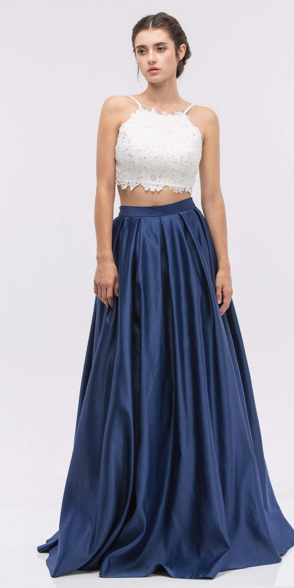 Two-Piece Long Prom Dress Lace Crop Top and Satin Skirt Navy Blue ...