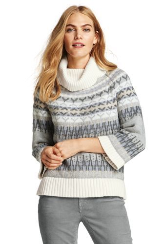 Womens+3/4+Sleeve+Fair+Isle+Turtleneck+Sweater+from+Lands'+End ...