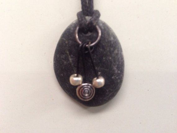 Lake Superior necklace basalt stone with silver beads on Etsy, $15.00