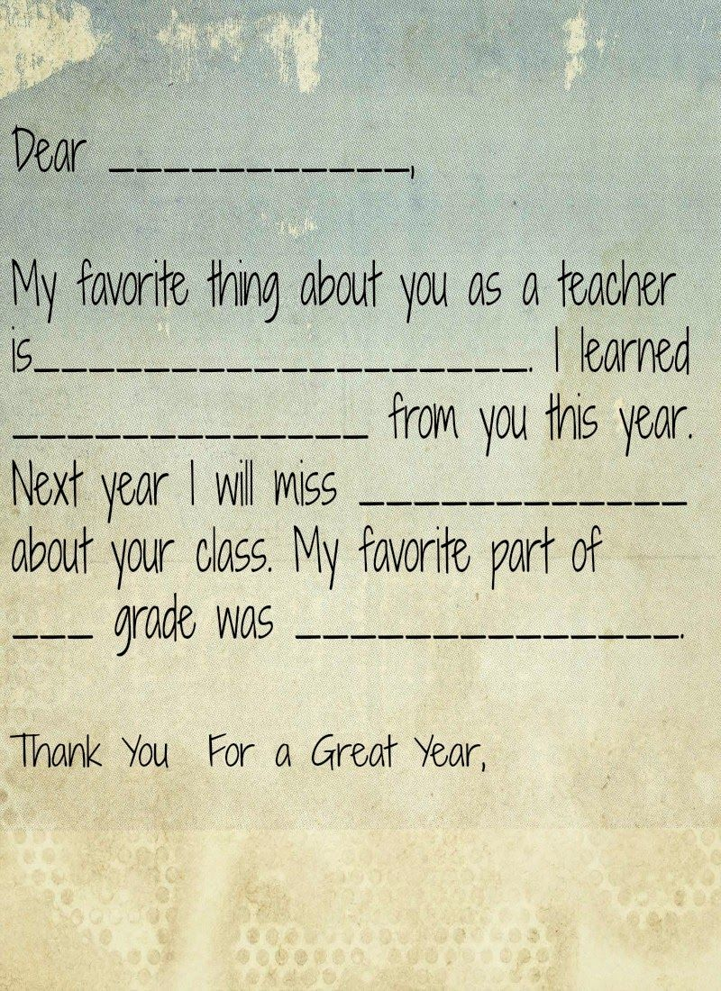 End Of Preschool And Teacher Gift Ideas  Teacher Note And Gift