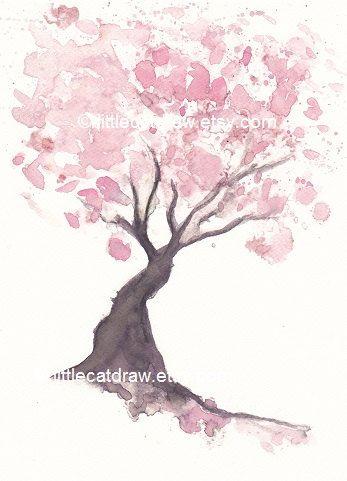 Rose fleur de cerisier aquarelle et dessins pinterest fleur de cerisier dessin arbre et - Dessin arbre japonais ...
