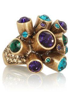 Oscar de la Renta Crystal cluster gold-plated ring | THE OUTNET