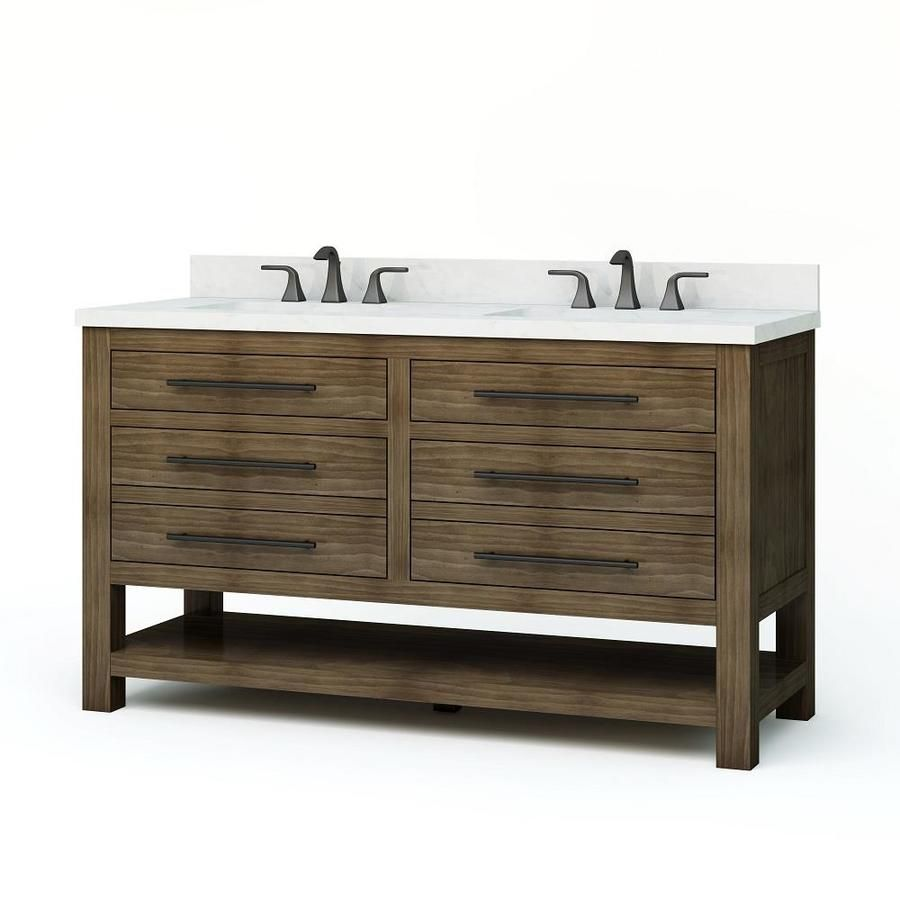 Allen Roth Kennilton 60 In Gray Oak Double Sink Bathroom Vanity With Carrera White Engineered Stone Top Lowes Com Double Sink Bathroom Double Vanity Bathroom Bathroom Sink Vanity