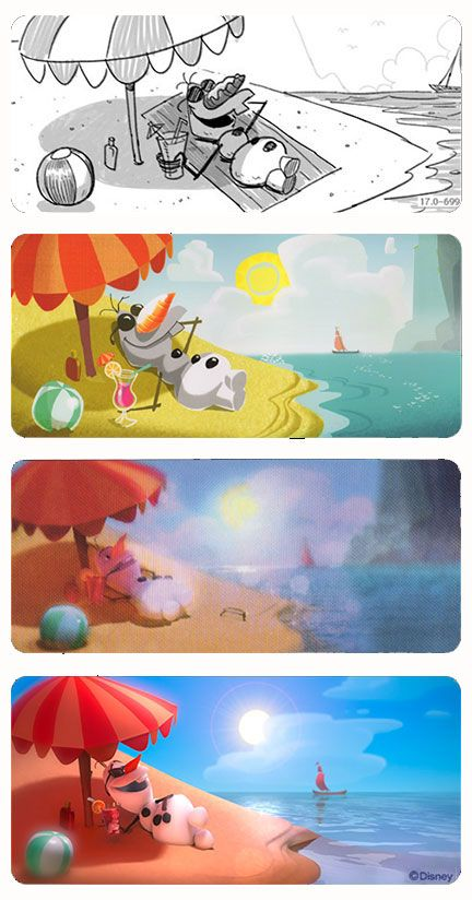 Olaf  In Summer  Storyboard Visual Development Lighting Key