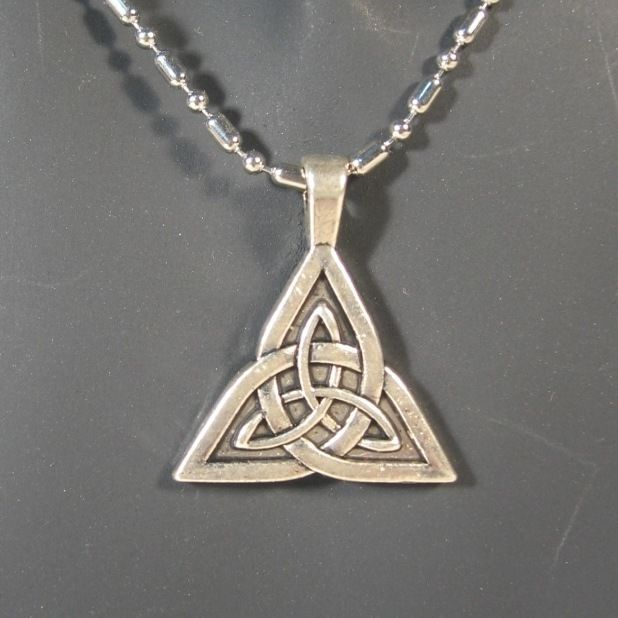Triquetra Pendant w/Silver Ball and Cylinder Necklace Chain #Unbranded #Pendant