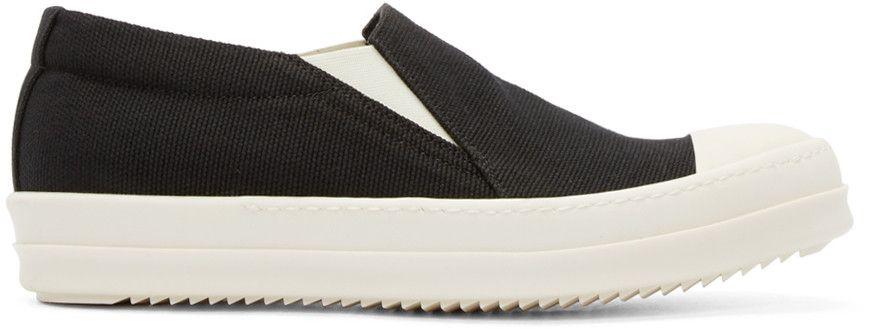 RICK OWENS DRKSHDW Black Canvas Boat Slip-On Sneakers. #rickowensdrkshdw #shoes #sneakers