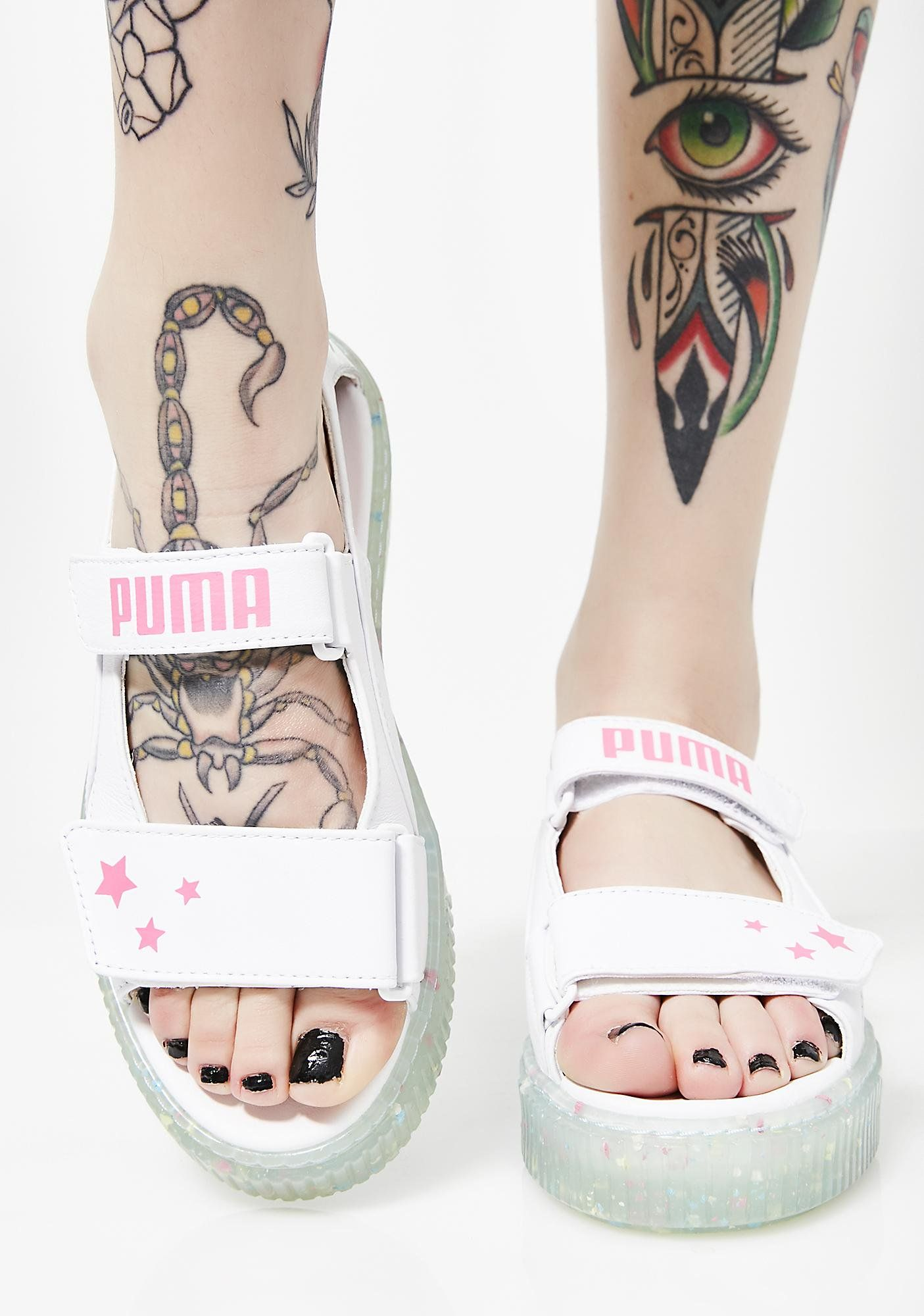 These platform sandals handy velcro closures and splatter patterned rubber  sole.  dollskill  puma  pumacollections  sneakers  sportswear  activewear 23306d6d1b