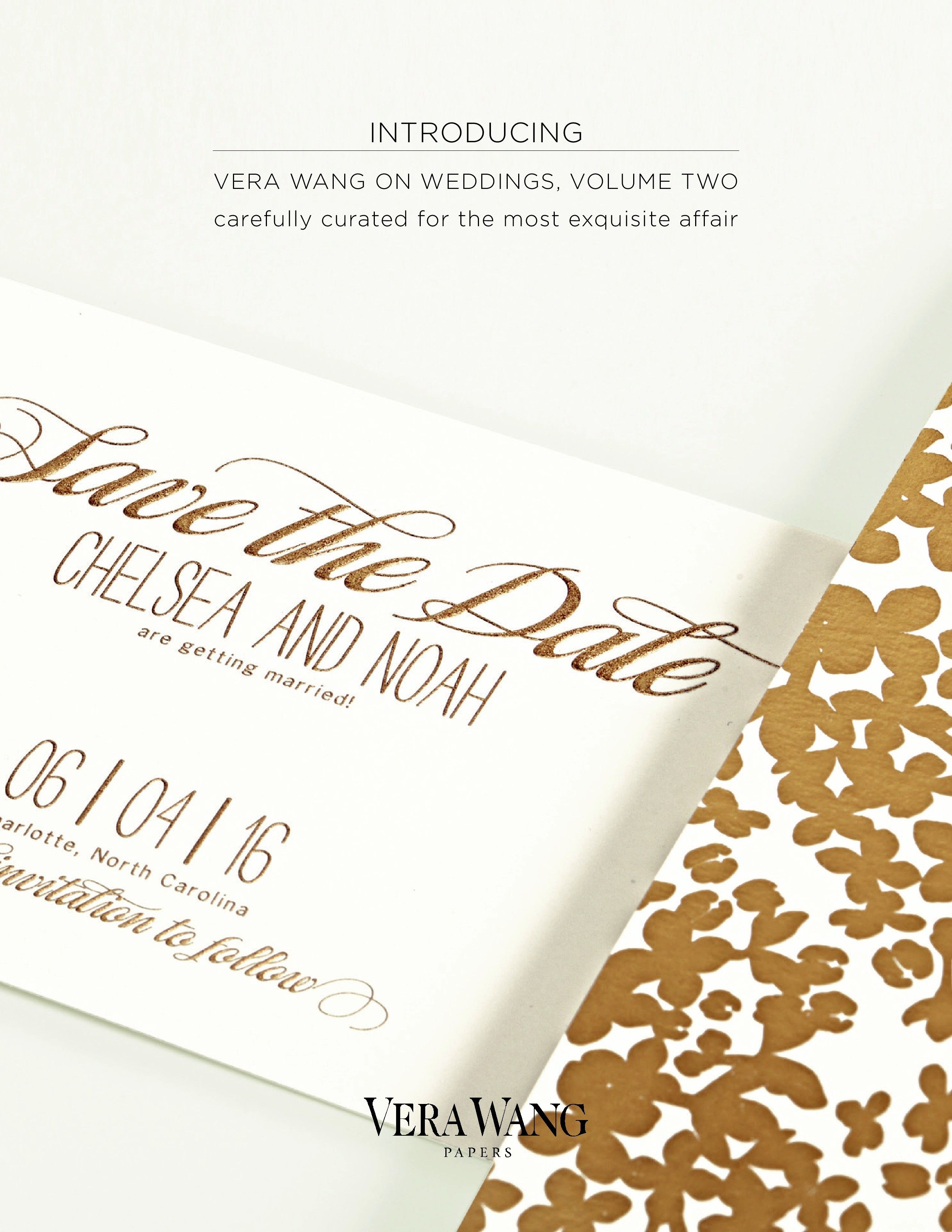 #Vera #Wang #Papers on #Weddings #Volume #Two #Gold #Confetti www.hyegraph.com/wedding-invitations