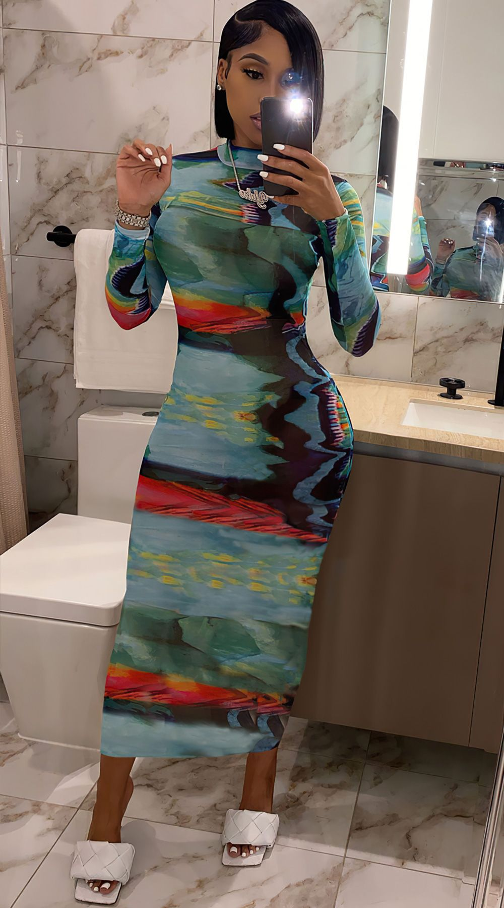 Mock Neck Printed Long Sleeve Bodycon Maxi Dress In 2021 Long Sleeve Bodycon Cute Dress Outfits Bodycon Maxi Dresses [ 1800 x 1000 Pixel ]