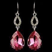 Silver Fuchsia & Clear CZ Crystal Drop Earrings 25285