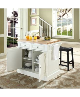 Oxford Butcher Block Top Kitchen Island With 24 Upholstered Saddle