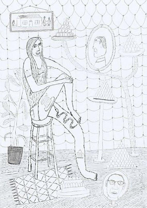 Photo of Dessin de John McKie. «Fille avec un tatouage de serpent» Impression jet d'encre A3 sur papier d'archivage Matt 230gsm.
