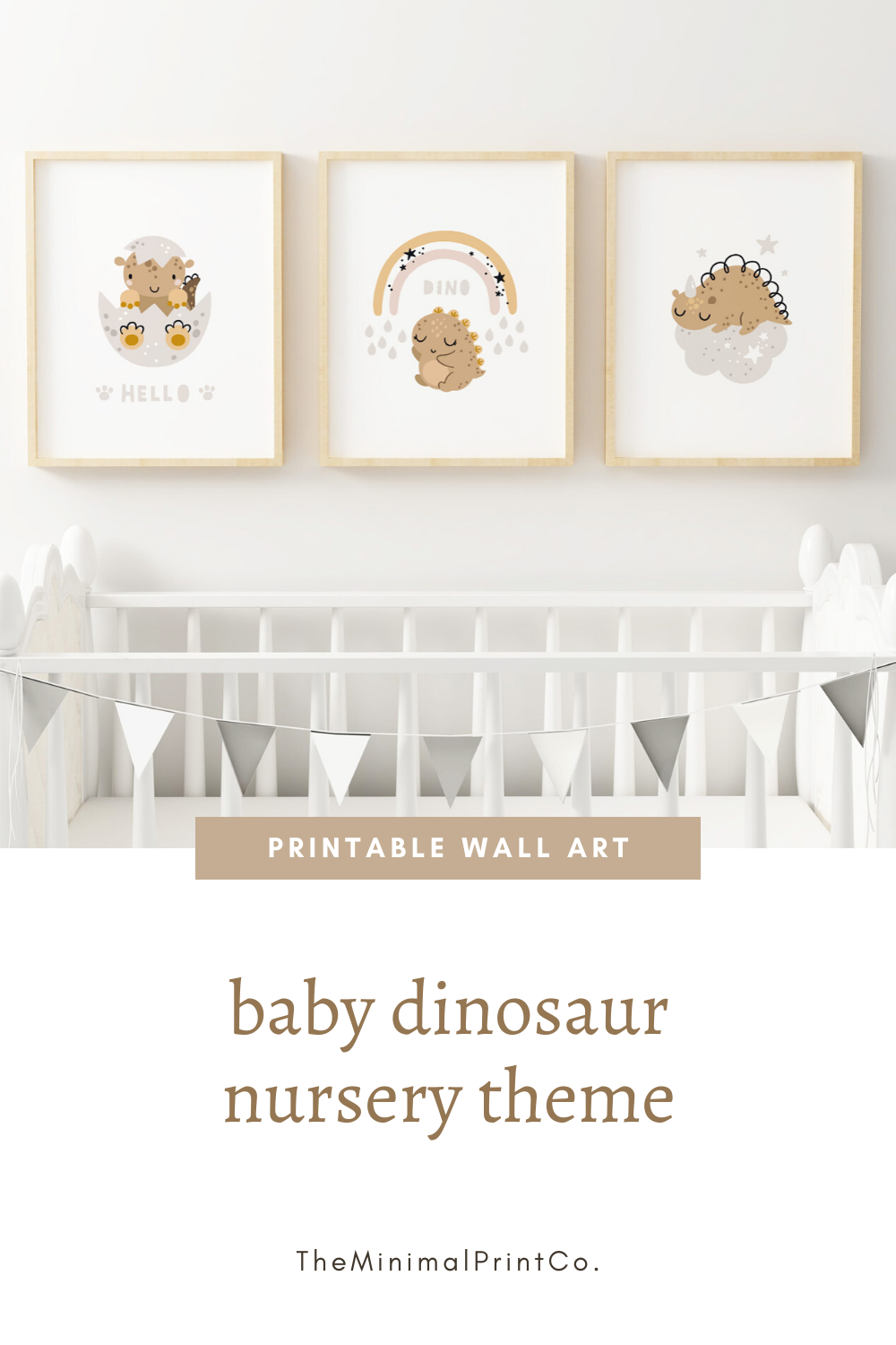 Baby Dinosaur Nursery Theme Wall Art, Set of 3 Dinosaur Printables, Neutral Boy Nursery Decor