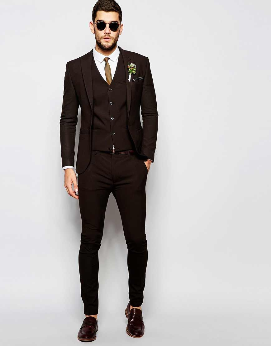 882127ed5b3f6 ASOS+Wedding+Super+Skinny+Suit+in+Brown