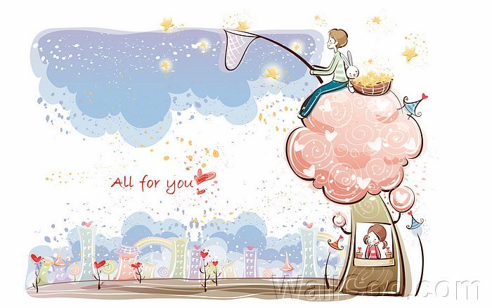 Young Love Valentine Cute Couple Illustrations All For You