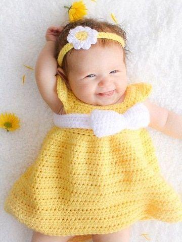 4 colores en vestidos tejidos para bebe paso a paso