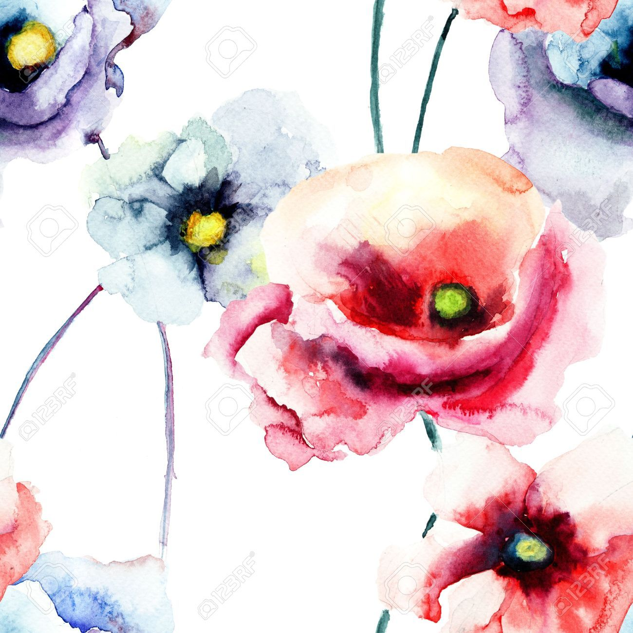 Colorful Poppy Flowers Watercolor Illustration Seamless Pattern