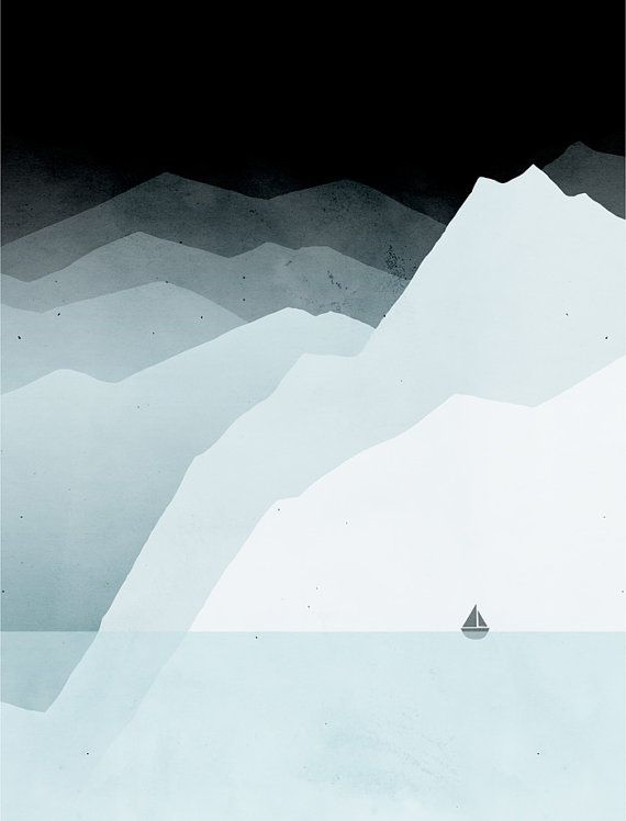 Icy mountains modern art print minimalist poster by for Modern minimalist wall art