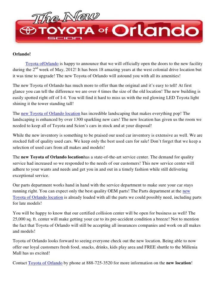 The New Toyota Of Orlando Location By Toyota Of Orlando  Http://www.slideshare.net/ToyotaofOrlando/the New Toyota Of Orlando Location