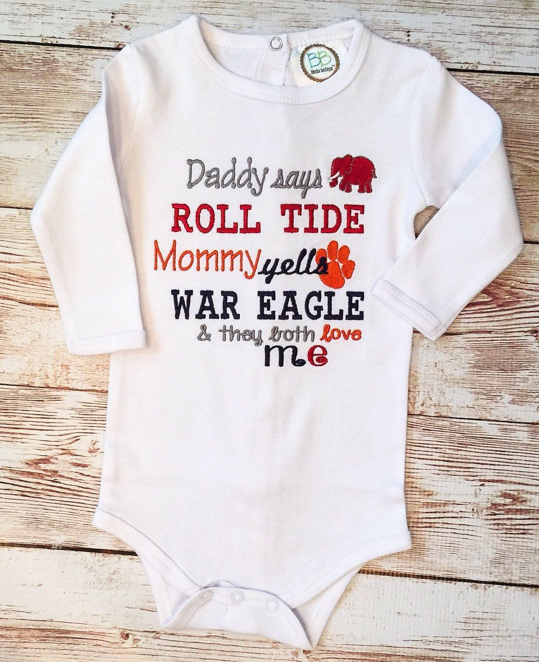 """Download House Divided Auburn Alabama Onesie """"Daddy says Roll Tide ..."""