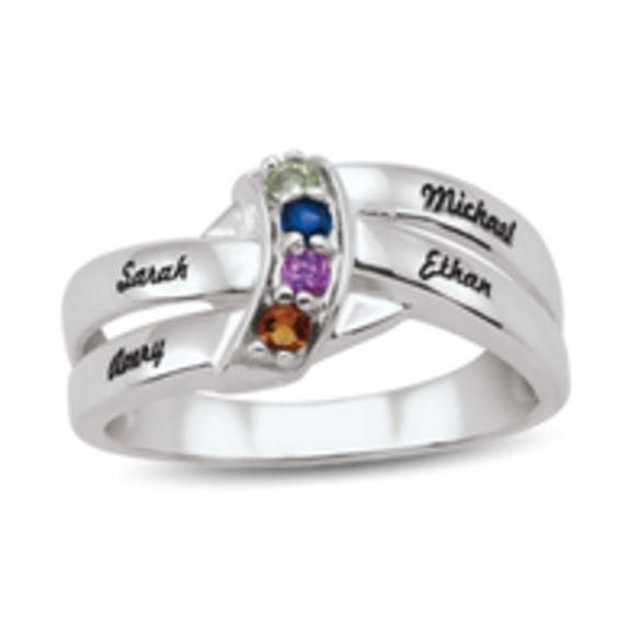 Zales Mothers Birthstone Cascading Wave Double Shank Ring (2-4 Stones and Names) 1cGAwgsGw
