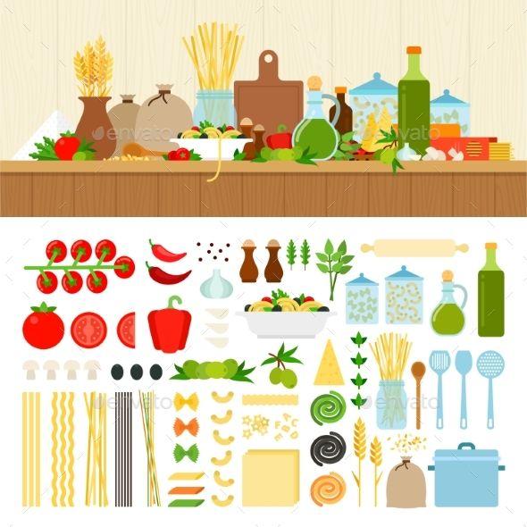 Set For Cooking Pasta At Home Desenhos De Objetos Ideias Desenho