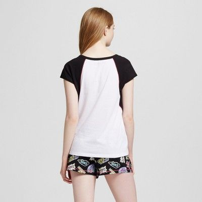Women's Ren & Stimpy Tee & Shorts Pajamas Set - White/Black XL, Black White